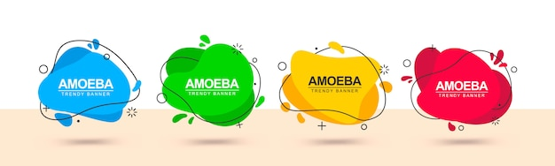 Set di banner alla moda multicolore di forma liquida e con contorno nero intorno. Vettore Premium