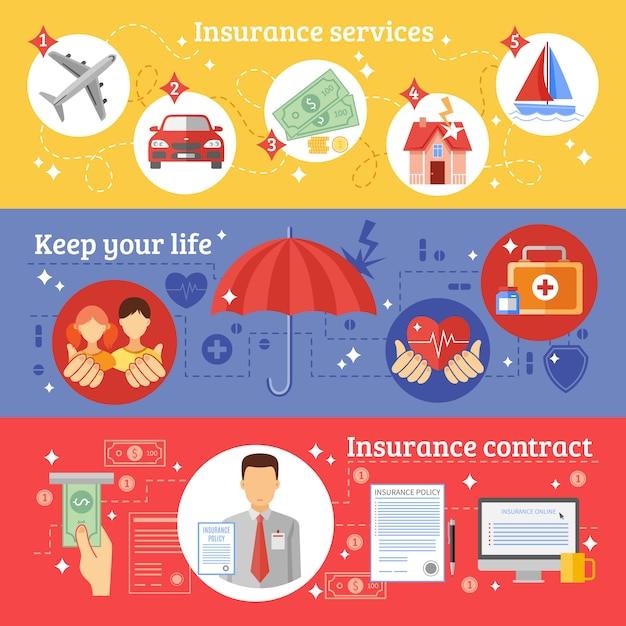 Set di banner assicurativi Vettore gratuito