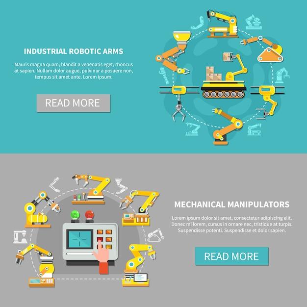 Set di banner braccio robotico Vettore gratuito