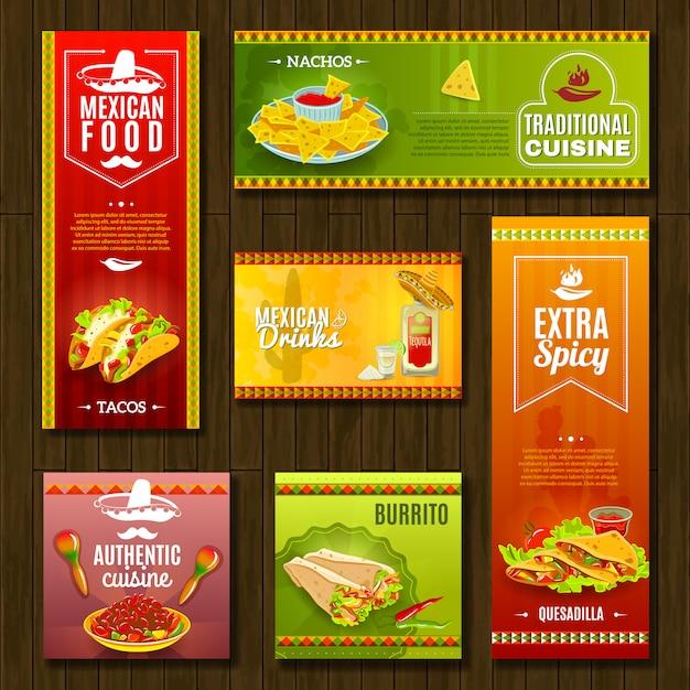 Set di banner cibo messicano Vettore gratuito