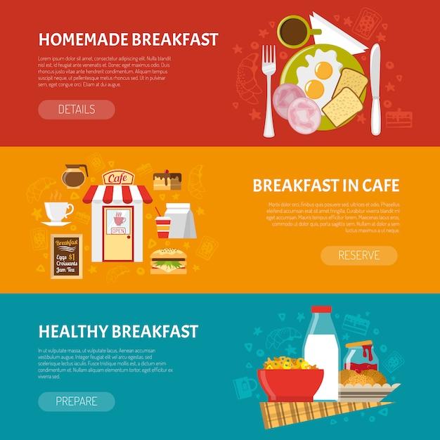 Set di banner colazione Vettore gratuito