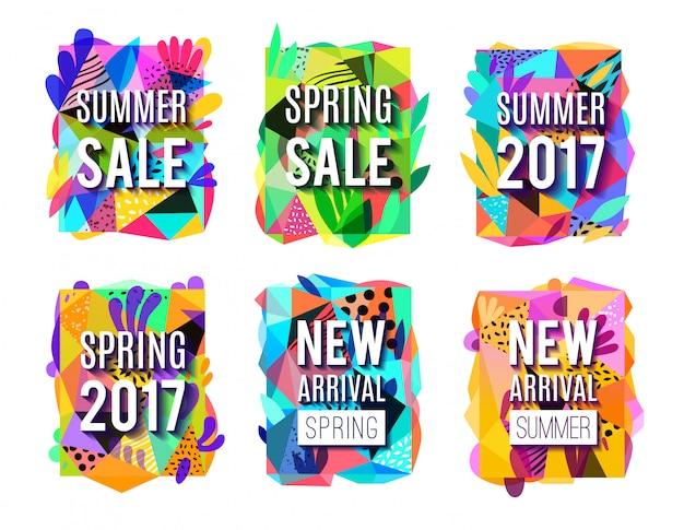 Set di banner colorato astratto sfondo di vendita Vettore gratuito
