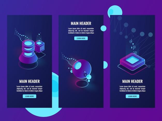 Set di banner con icone di server room e database, scienza dei dati Vettore gratuito