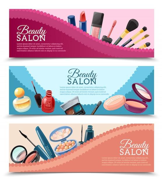 Set di banner cosmetici Vettore gratuito