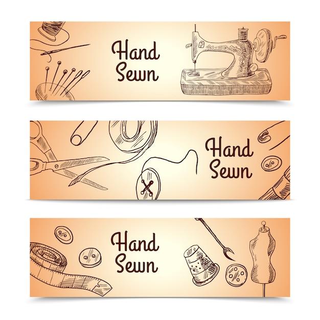 Set di banner cucito Vettore gratuito