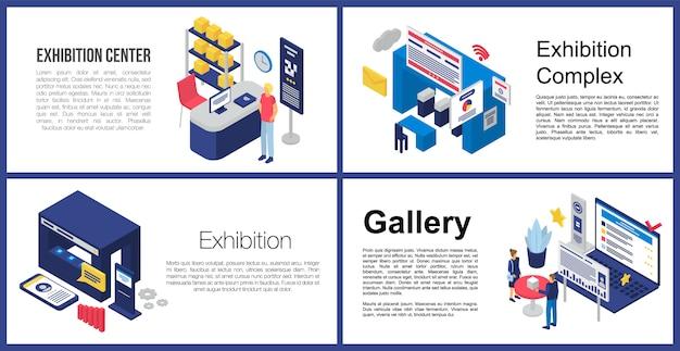 Set di banner del centro espositivo Vettore Premium