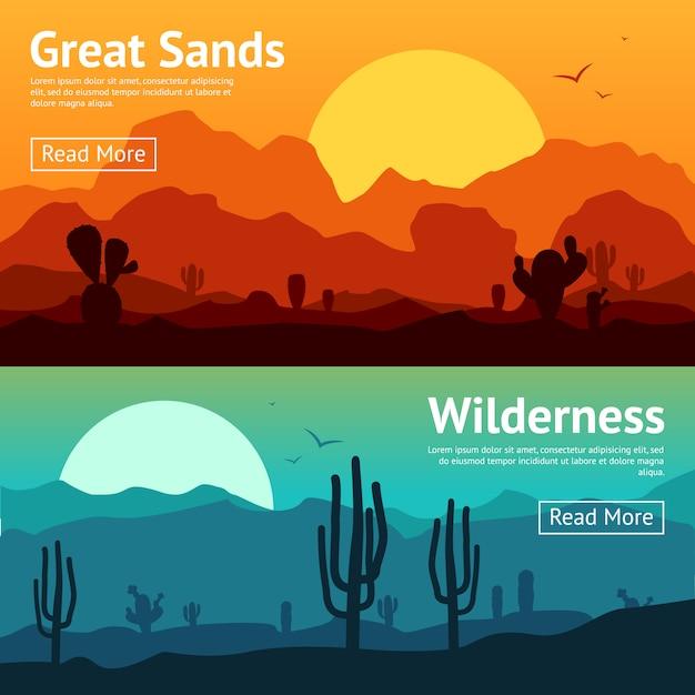 Set di banner del deserto Vettore gratuito