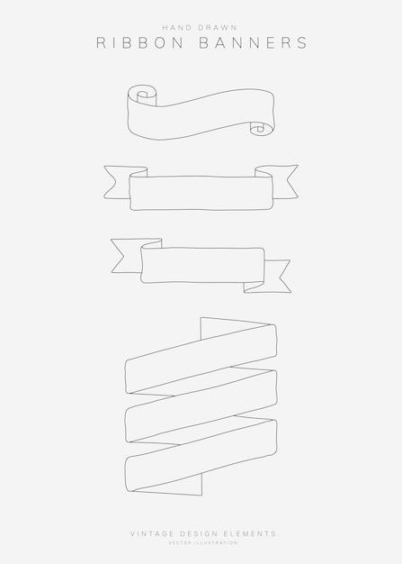 Set di banner del nastro Vettore gratuito