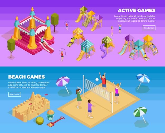 Set di banner del parco giochi Vettore gratuito