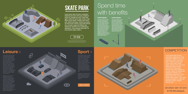Set di banner del parco skate. insieme isometrico dell'insegna di vettore del parco del pattino per web design Vettore Premium