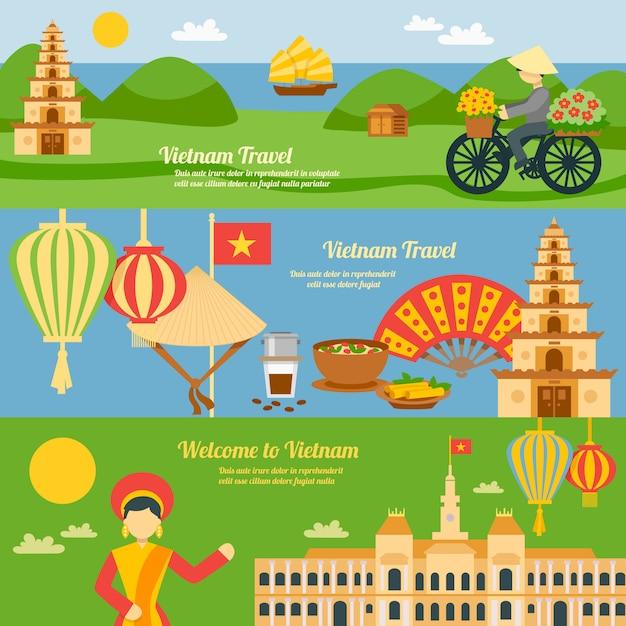 Set di banner del vietnam Vettore gratuito