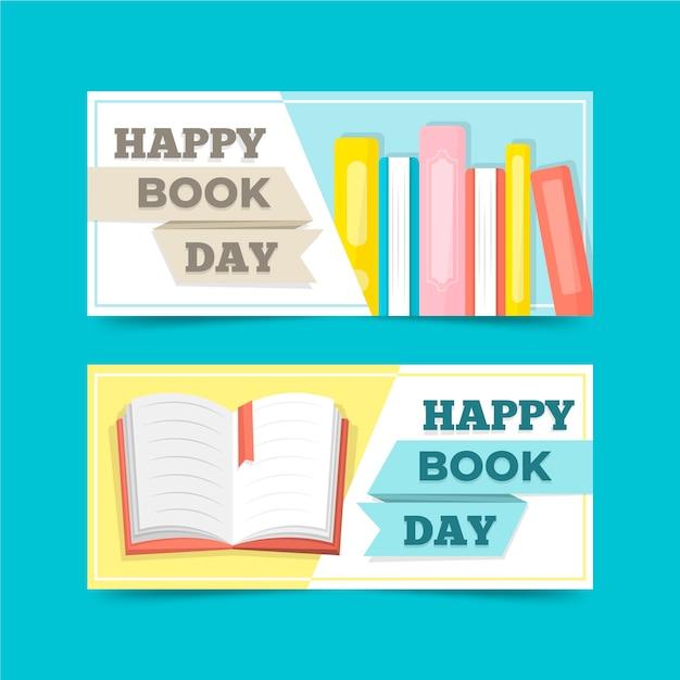 Set di banner design piatto mondo giorno libro Vettore gratuito