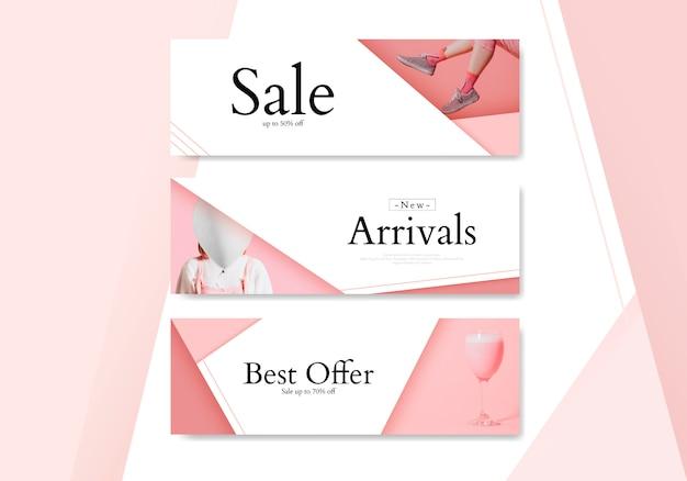 Set di banner di acquisto femminile Vettore gratuito