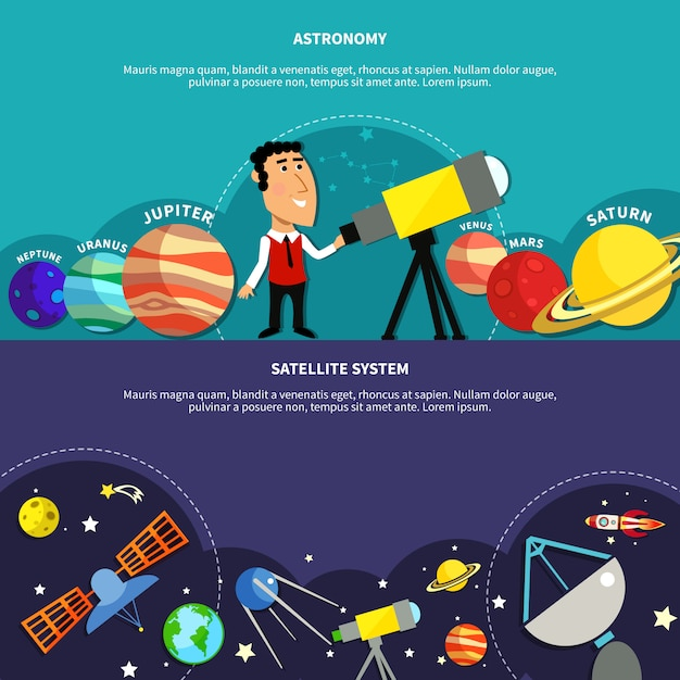 Set di banner di astronomia Vettore gratuito