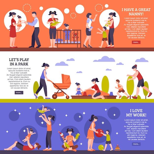 Set di banner di bambinaia Vettore gratuito