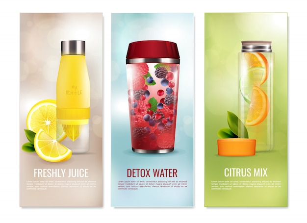 Set di banner di bevande disintossicanti Vettore gratuito