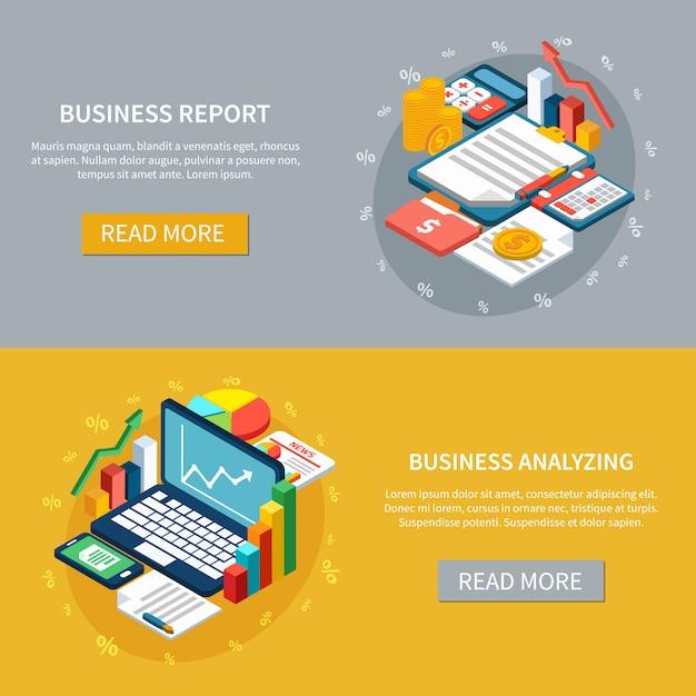 Set di banner di business analytics Vettore gratuito