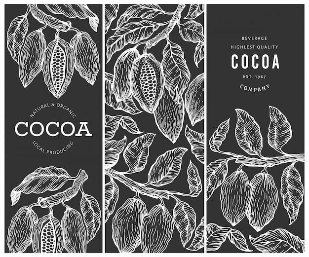 Set di banner di cacao. fave di cacao al cioccolato sullo sfondo Vettore Premium