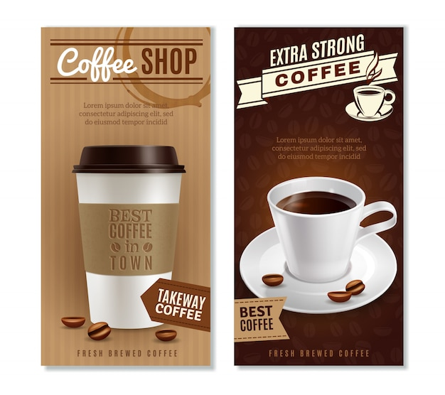 Set di banner di caffè Vettore gratuito