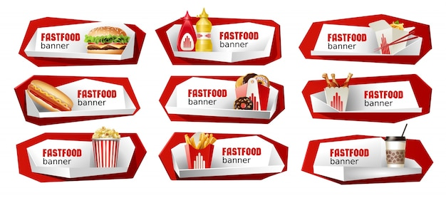 Set di banner di cibo veloce fast food. Vettore gratuito