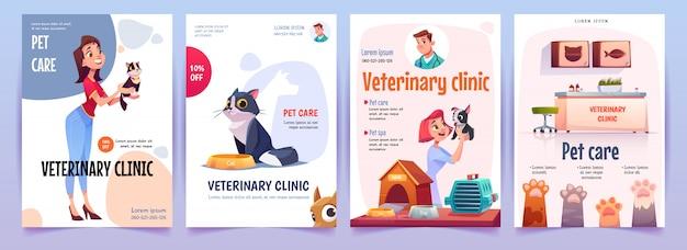 Set di banner di clinica veterinaria. poster di servizio veterinario Vettore gratuito