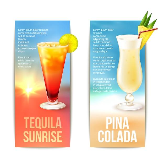 Set di banner di cocktail Vettore gratuito