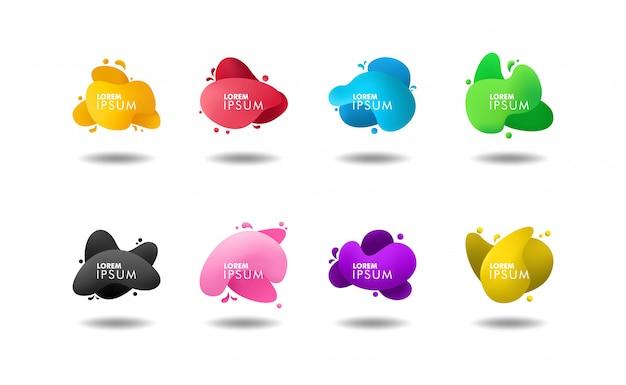 Set di banner di colore liquido astratto Vettore Premium