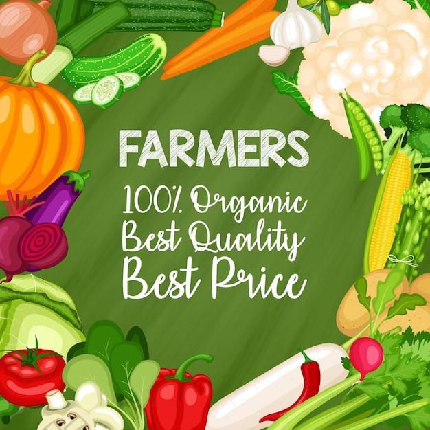 Set di banner di coltivatore di ortaggi biologici Vettore Premium