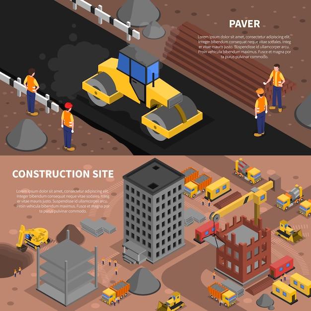 Set di banner di costruzione Vettore gratuito