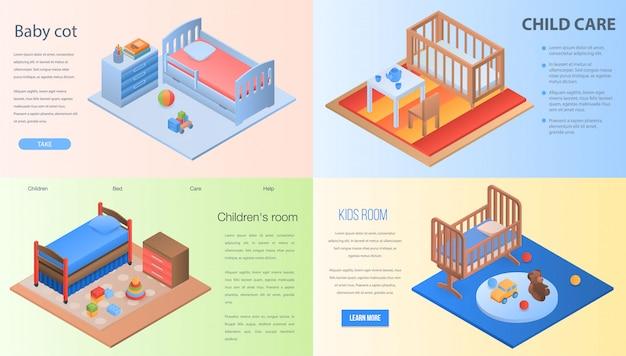 Set di banner di culla. insieme isometrico dell'insegna di vettore della culla del bambino per web design Vettore Premium