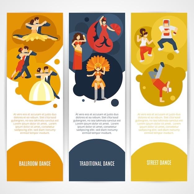 Set di banner di danza Vettore Premium