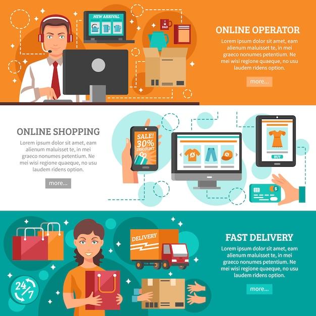 Set di banner di e-commerce Vettore gratuito