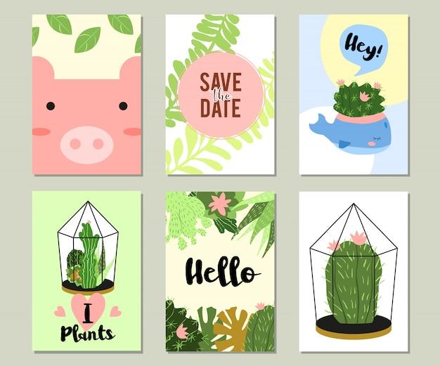 Set di banner di estate tropicale o floreale alla moda Vettore gratuito