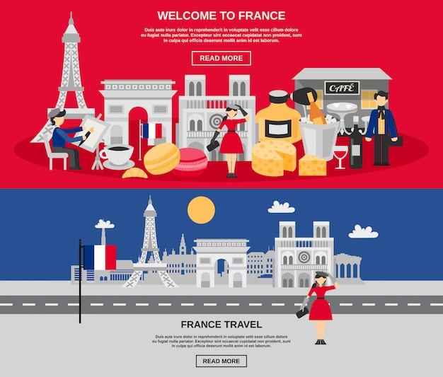 Set di banner di francia Vettore gratuito