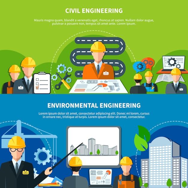 Set di banner di ingegneria civile Vettore gratuito