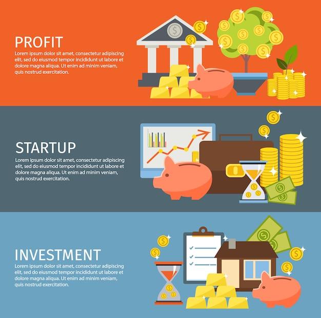 Set di banner di investimento Vettore gratuito