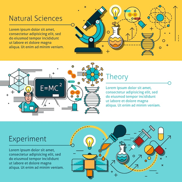 Set di banner di linea di scienza Vettore gratuito