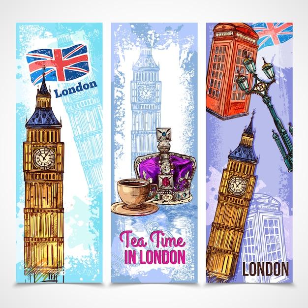 Set di banner di londra Vettore gratuito