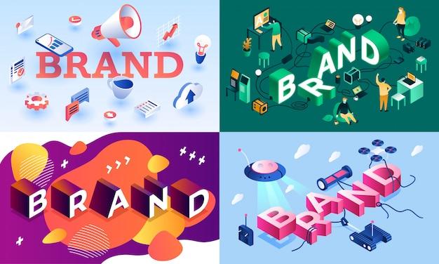 Set di banner di marca. insieme isometrico dell'insegna di vettore di marca per web design Vettore Premium