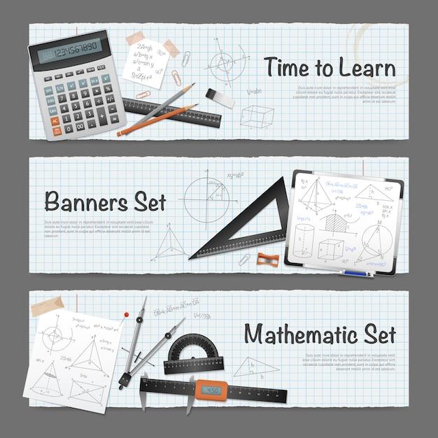 Set di banner di matematica matematica Vettore gratuito
