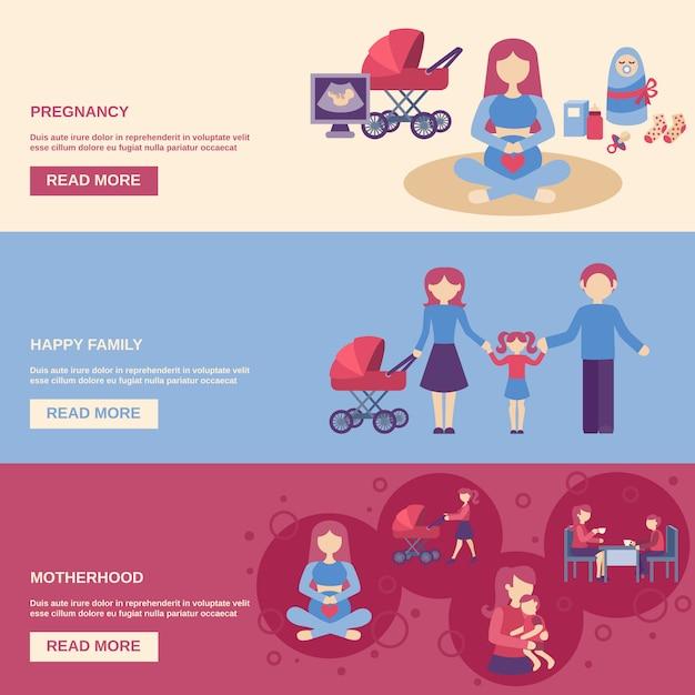 Set di banner di maternità Vettore gratuito