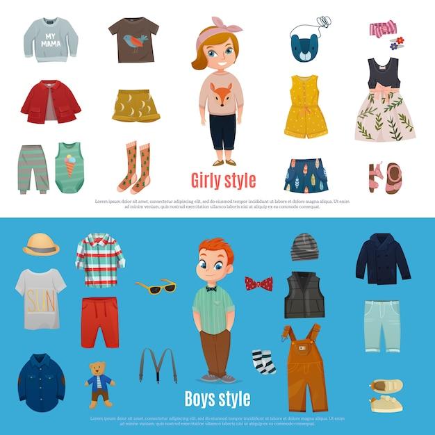 Set di banner di moda bambino Vettore gratuito