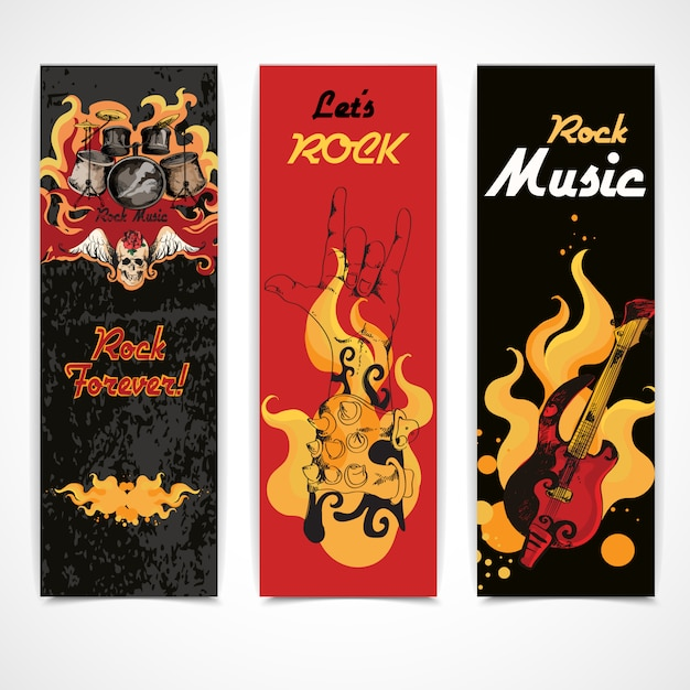 Set di banner di musica rock Vettore Premium
