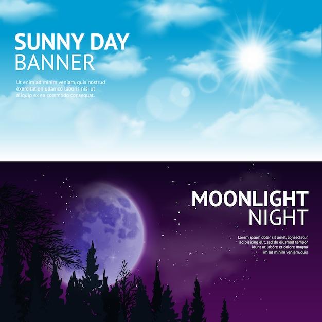 Set di banner di notte e giorno Vettore gratuito