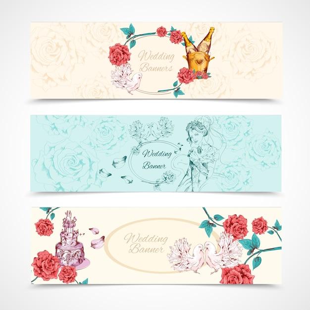 Set di banner di nozze Vettore Premium