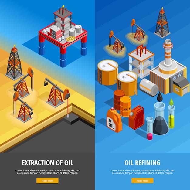 Set di banner di pagina web isometrica industria petrolifera Vettore gratuito