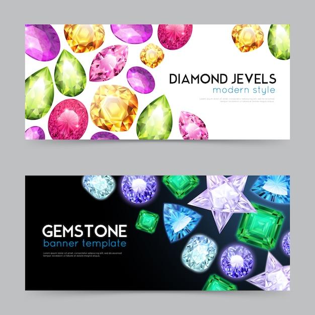 Set di banner di pietre preziose con diamanti Vettore gratuito