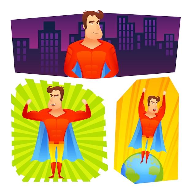 Set di banner di poster di supereroi Vettore gratuito