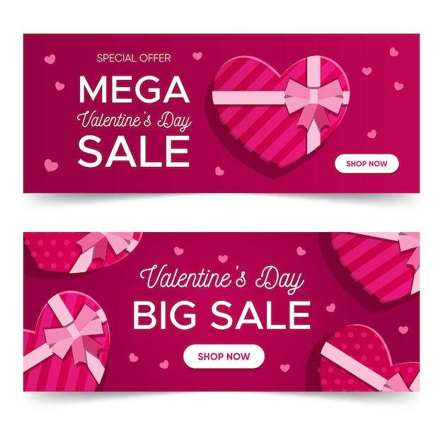 Set di banner di san valentino Vettore gratuito