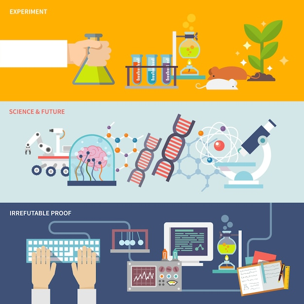 Set di banner di scienza e ricerca Vettore gratuito